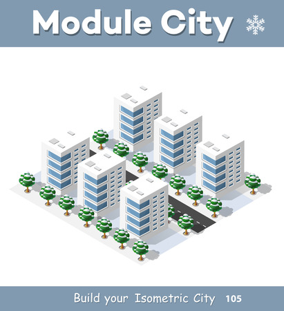 urban building: New Year Christmas 3d house in the winter forest. Isometric city building in the region landscape. Three-dimensional urban neighborhood with streets and houses. Seasonal nature scenery stock vector