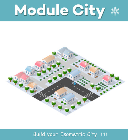 winter scenery: Christmas 3d house in the winter forest. Isometric building in the region landscape. Three-dimensional Village with streets and houses. Seasonal nature scenery stock vector