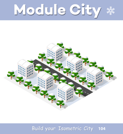 home icon: New Year Christmas 3d house in the winter forest. Isometric city building in the region landscape. Three-dimensional urban neighborhood with streets and houses. Seasonal nature scenery stock vector