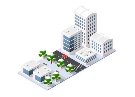 等尺性 3 D 立体冬町市街。高層ビル、アパート、オフィス、家、木と自然と車の都市交通の動き通り  イラスト・ベクター素材