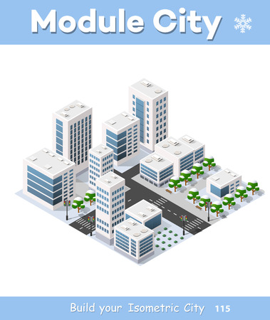 Isometric 3D city three-dimensional winter town quarter. Skyscrapers, apartment, office, houses and streets with urban traffic movement of the car with trees and nature