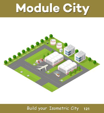 輸送機と滑走路等尺性 3次元都市空港。高層ビル、住宅、木や自然と車の都市交通の動きと街  イラスト・ベクター素材