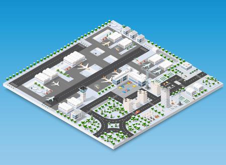 Isometric 3D airstrip Illustration