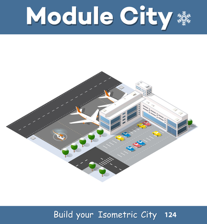 airfield: Isometric 3D airstrip Illustration