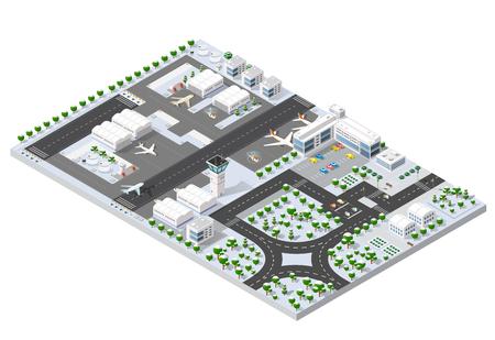 シティ国際空港のターミナルと飛行機輸送と飛行機、滑走路航空機ジェット等尺性 3 D 滑走路。都市交通と建物の建設。道、木およびパス。