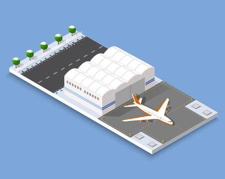 airstrip: Isometric 3D airstrip of the city international airport terminal and the plane transportation and airplane runway, aircraft jet. Urban transport and building construction. Roads, trees and paths.