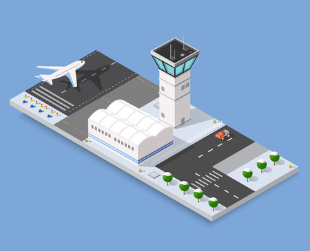 jet airplane: Isometric 3D airstrip of the city international airport terminal and the plane transportation and airplane runway, aircraft jet. Urban transport and building construction. Roads, trees and paths.
