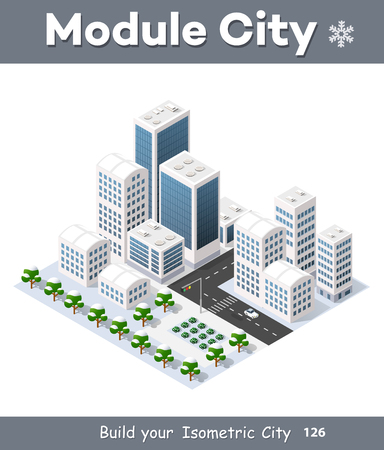 office construction: 3d cityscape city street public block house from above highway intersection transportation street. Isometric winter landscape of skyscraper view of building office and residential area of construction