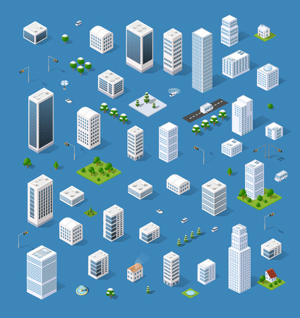 Isometric set 3D city three-dimensional town quarter. Skyscrapers, apartment, office, houses and streets with urban traffic movement of the car with trees and nature Illustration