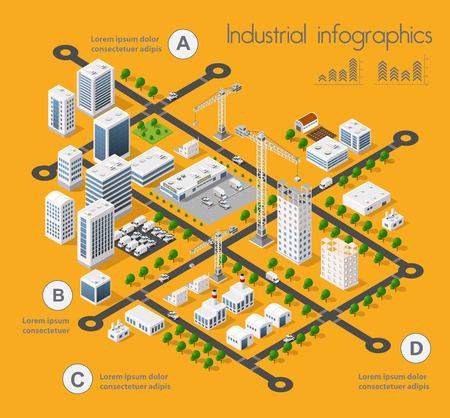 Errichtender Bau der Industrie 3D des isometrischen infographics des flachen Designs mit Stadtlandschaft und industriellen Fabrikgebäuden und Vektorillustration Standard-Bild - 69473828