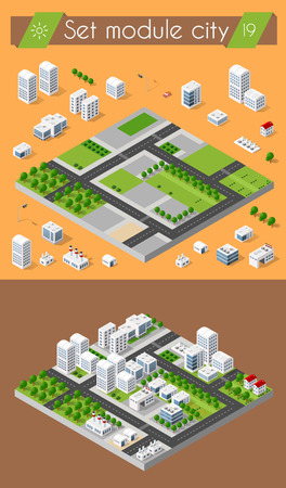 modern house: Cityscape design elements with isometric building city map generator. 3D flat icon set. Isolated collection elements for creating your perfect road, park, transport, trees, infrastructure, industrial