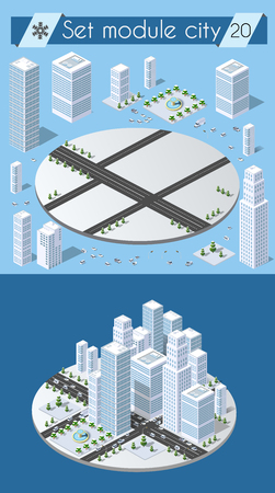 home icon: Cityscape design elements with isometric building city map generator. 3D flat icon set. Isolated collection elements for creating your perfect road, park, transport, trees, infrastructure, industrial
