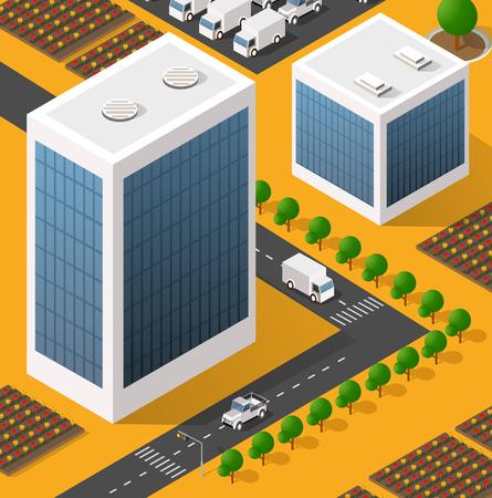 Isometrisch aanzicht van wolkenkrabber kantoorgebouwen en woningbouw gebied