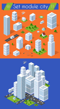 Set for design 3d cityscape city street public house on top of a block intersection of Highway Transportation street. Isometric view of skyscraper office buildings and residential construction area Illustration