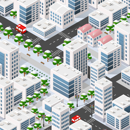 Winter illustration 3D isometric city based on three-dimensional projection of houses, buildings, cars and many other design elements