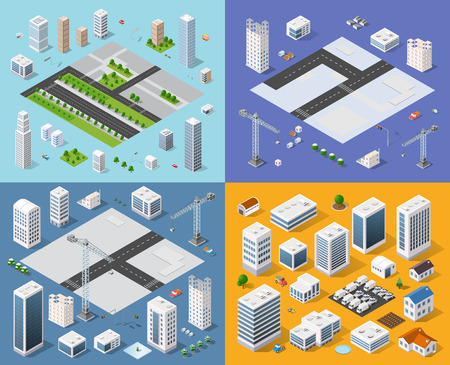 car garden: Isometric set 3D city three-dimensional town quarter. Skyscrapers, apartment, office, houses and streets with urban traffic movement of the car with trees and nature Illustration