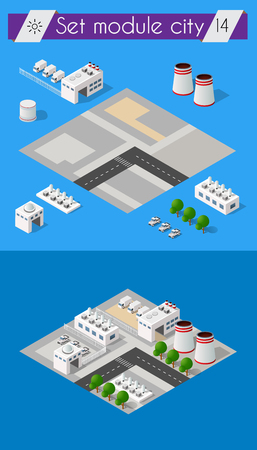 industrial construction: Building 3D industry construction for isometric infographics of flat design with urban landscape and industrial factory buildings and vector illustration Illustration