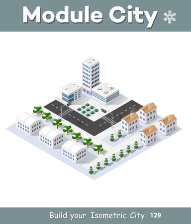 3D-stadsgezicht stadsstraat openbare blok huis van boven de snelweg kruising vervoer straat. Isometrische winterlandschap van wolkenkrabber uitzicht op de bouw kantoor-en residentiële gebied van de bouw