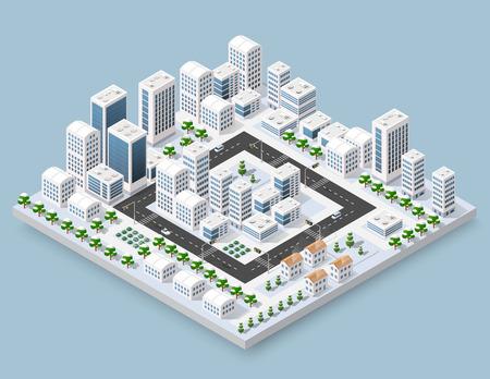 3d cityscape openbaar het blokhuis van de stadsstraat van bovengenoemde kruising van het wegkruisingsstraat. Isometrisch de winterlandschap van wolkenkrabbermening van de bouw van bureau en woonwijk van bouw
