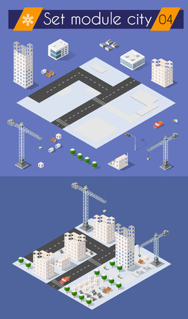 office construction: Set for design 3d cityscape city street public house on top of a block intersection of Highway Transportation street. Isometric view of skyscraper office buildings and residential construction area Illustration