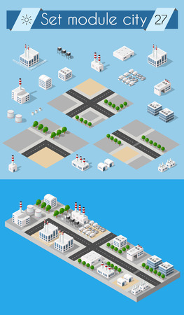 industrial park: Cityscape design elements with isometric building city map generator. 3D flat icon set. Isolated collection elements for creating your perfect road, park, transport, trees, infrastructure, industrial
