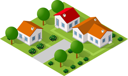 website buttons: Isometric 3D icon house home. Residence building the city landscape three-dimensional vector symbol concept