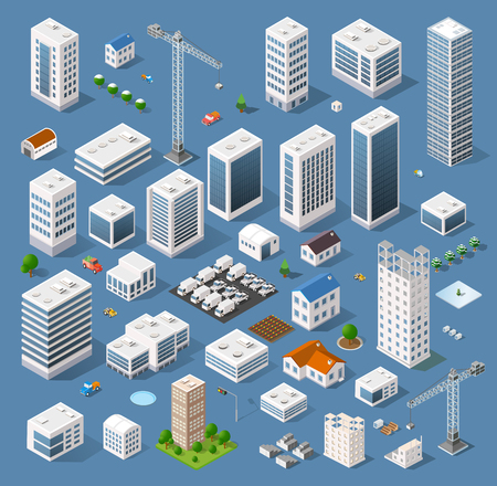 Industrial based on isometric projection of a three-dimensional houses, buildings, cranes, cars and many other design elements necessary creative designers for web projects Illustration