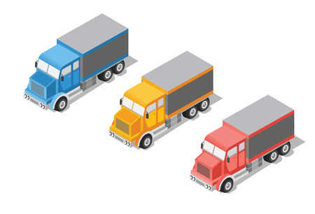 reefer: Set cargo truck isometric transportation icon. Lorry with container transport isolated on white background. Industrial logistics. For commercial delivery infographics, web design