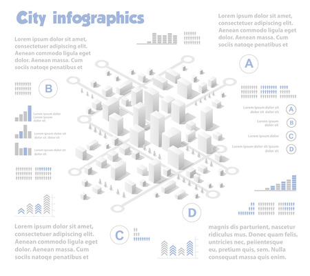 industry architecture: Isometric city map industry infographic set, with transport, architecture, graphic design elements. Urban information concept template with statistical icons, charts, diagrams in flat colors