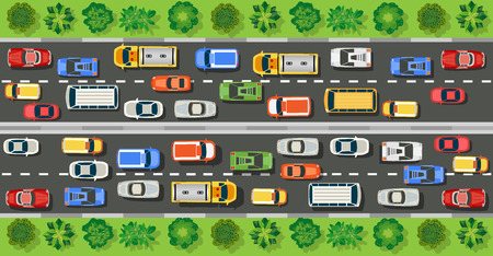 Road top view with highways many different vehicles. Map of cars traffic jam and urban transport. City infrastructure with transportation design elements and highways