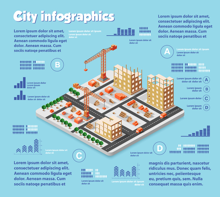 industry design: Isometric city map industry infographic set, with transport, architecture, graphic design elements. Urban information concept template with statistical icons, charts, diagrams in flat colors