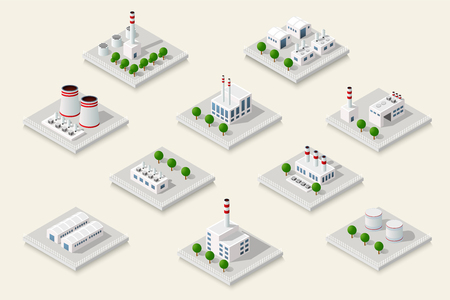 industrial building: Vector set isometric icon of factory infrastructure element industrial landscape and garbage recycling plant with buildings and trees