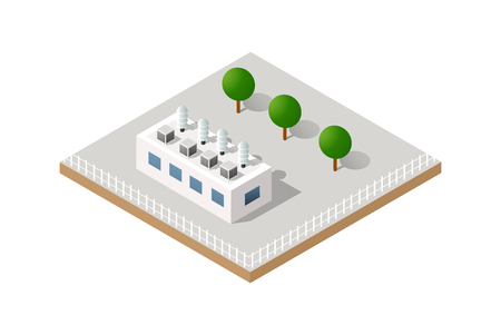 Vector isometric icon of factory infrastructure element industrial landscape and garbage recycling plant with buildings and trees
