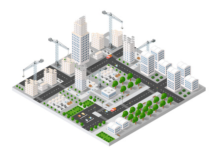 home icon: City isometric industry there are diagram, building, road, park, transportation and crane in the area of the town with the business conceptual graphs and symbols