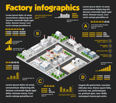 City isometric industrial factory infographics there are diagram, building, road, plant, transportation and works in the area of the town with business conceptual graphs and symbols Illustration