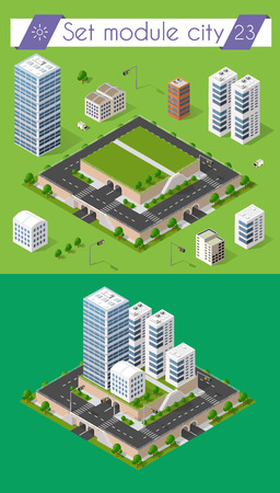 city icon: Cityscape design elements with isometric building city map generator. 3D flat icon set. Isolated collection elements for creating your perfect road, park, transport, trees, infrastructure, industrial
