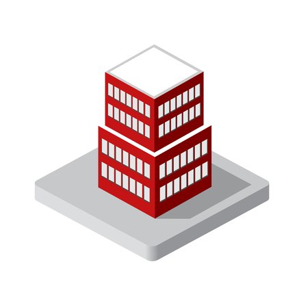 modern house: Isometric 3d private house real estate decorative icons. Architecture agency, property and home. Isolated cartoon illustration of building symbol for web