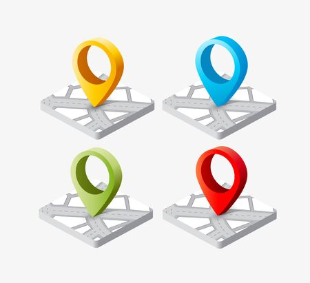 destination: Isometric pin icon on the navigation map for positioning travel and transport
