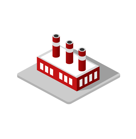 manufactory: Isometric 3d Industrial factory decorative icon. Architecture manufactured, property and facility. Isolated cartoon illustration of plant symbol for web