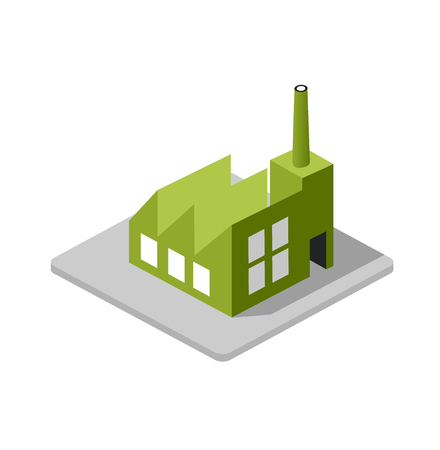 Isometric 3d Industrial factory decorative icon. Architecture manufactured, property and facility. Isolated cartoon illustration of plant symbol for web
