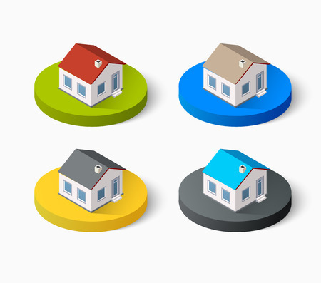 building color: Real Estate isometric building icon set for web and mobile. Kit includes urban element in a flat style. Modern minimalistic color design Illustration