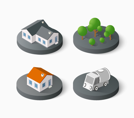 urban building: Real Estate isometric building icon set for web and mobile. Kit includes urban element in a flat style. Modern minimalistic color design Illustration