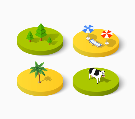 at leisure: Set of Isometric signs of icon summer