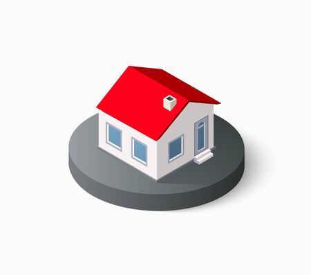 urban building: Real Estate isometric building icon for web and mobile includes urban element in a flat style. Modern minimalistic color design
