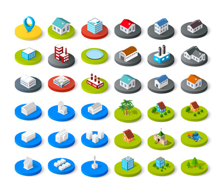 house icon: Isometric vector 3D icon city buildings for infographic concept set which includes house, offices homes shop stores, supermarkets and industrial elements