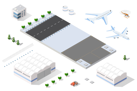 jet airplane: Isometric set 3D airstrip of the city international airport terminal and the plane transportation and airplane runway, aircraft jet. Urban transport and building construction. Roads, trees and paths.