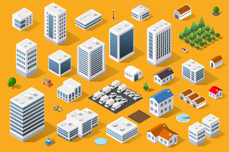 Cityscape design elements with isometric building city map generator. 3D flat icon set. Isolated collection elements for creating your perfect road, park, transport, trees, infrastructure, industrial