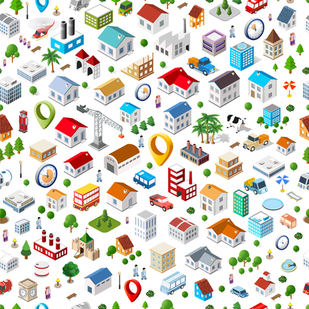 town square: Texture of urban seamless repeating pattern of isometric city facilities such as homes, buildings, factories, plants and trees. Web elements for background and interactive applications concept