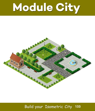tree of knowledge: Architecture retro isometric 3D city historic educational buildings. Public university or library school government. Build your town of web objects collection. Illustration