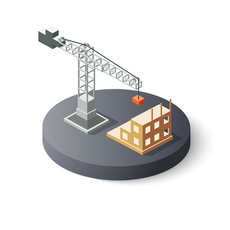 industrial construction: Isometric industrial crane icon for construction. Object clearing services for the building work